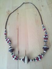 Beautiful Unique Bohemian carved coconut shell, wooden & bead necklace handmade