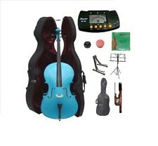 New 4/4-1/4 Size BLUE Cello,Case,Bag,Bow+Strings+2 Stands,Tuner,Rosin,Mute