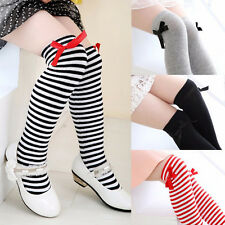 Girls Cotton Long Socks Baby Toddler Bowknot Striped Leg Warmer 1-8 Age JFEI