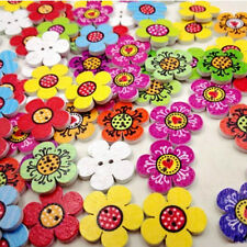 50/100X 20mm Mixed Color Wooden Flowers Sewing Buttons Scrapbooking Decor NEW