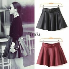 Women Faux Leather Mini Skirt High Waisted Flared Pleated Skater Short TXWD