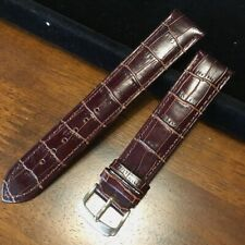 HQ XL DARK BROWN GLOSS ITALY CROC GRAIN LEATHER WATCH BAND LENGTHENED STRAP