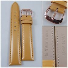 HQ 16MM 18MM 20MM YELLOW PEARLY ITALY LAMBSKIN LEATHER WATCH BAND SMOOTH STRAP