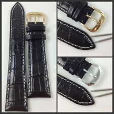 HQ 18MM 20MM BLACK ITALY GLOSSY LEATHER CROC GRAIN WATCH BAND WHITE STITCH STRAP
