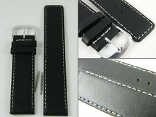 HQ 22mm or 20mm Black Lambskin leather Straight Strap White Stitch Watch band