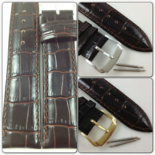 HQ DARK BROWN GLOSS ITALY CROC GRAIN LEATHER WATCH BAND GLOSSY STRAP w/CLASP