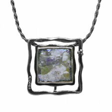 Ancient Roman Glass Pendant Square Sterling Silver Three Ways to Wear