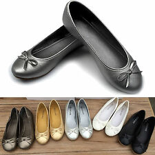 Ladies Casual Flat Bow Dolly Shoes Womens Office Ballerina Ballet Pumps Slippers