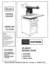 Sears Craftsman Radial Arm Saw Manual Many Models Avail