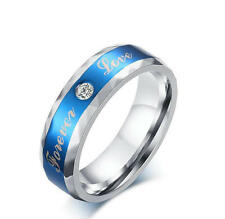 Men's 6mm blue stainless steel ring FOREVER LOVE cubic zirconia band Size 7-12