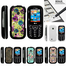 For LG Cosmos 3 VN251S Case Hard Snap On 2 Piece Slim Shell Butterfly Flowers