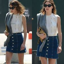 Free Shipping Fashion Women High Waisted Button-Down Denim A-Line Mini Skirt