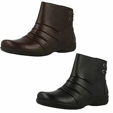 Ladies Clarks Mells Ruth Leather Casual Zip Up Ankle Boots Wide E Fitting