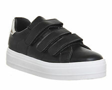 Womens Office Player Velcro Strap Trainers BLACK SILVER Flats