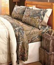 Woods Hunting Camouflage Camo Pink Brown Orange Bed Sheets T-F-Q-K