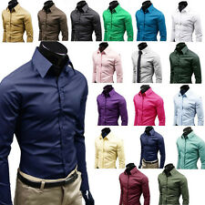 Mens Luxury Casual Slim Fit Stylish Formal Business Dress Shirts Tops 17 Colors
