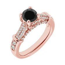 1 Carat Black Diamond Solitaire Promise Engagement Wedding Ring 14K Rose Gold
