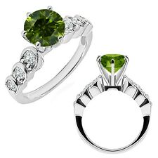 1 Carat Green Diamond 7 Stone Wedding Anniversary Bridal Ring 14K White Gold