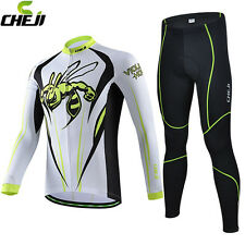 CHEJI Men Cycling Bike Long Sleeve Jersey Pants Sports Clothing Autumn Winter