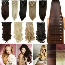 100%Natural Clip in Hair Extensions 8 Pieces Full Head Long As Human Blonde H817