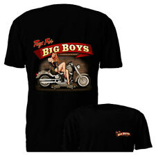 New Toys For Big Boys Pin Up Girl Black Motorcycle Graphic T-shirt S M L XL 2XL
