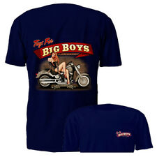 New Toys For Big Boys Pin Up Girl Blue Motorcycle Graphic T-shirt S M L XL 2XL