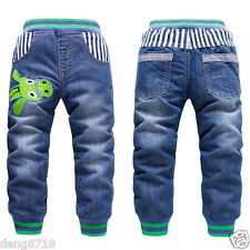 New Kids Boys Girls Fashion Children Denim Jeans Blue Pants Casual Trousers 2-7Y