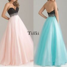 Women Strapless Organza Ball Gown Party Cocktail Evening Wedding Long Maxi Dress