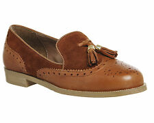 Womens Office Ringo Tassel Brogue Loafers TAN LEATHER TAN SUEDE Flats