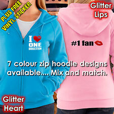 ONE DIRECTION HOODIE ZIP– I LUV ONE DIRECTION – RED GLITTER - 7 HOODIE COLOURS