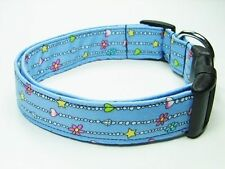 Charming Blue with Beaded Necklace Dog Collar