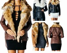 Faux Fur Collar PU Leather Look Mid Length Belted Jacket Ladies Womens Coat 8-14