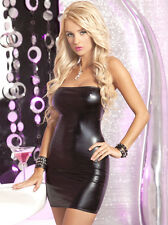 Pink Lipstick Women's Dress in Wetlook Black