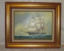"""ORIGINAL OIL PAINTING BY J JAMES TALL SHIP AT SEA 23 1/2 x 19"""" FRAMED"""