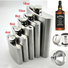 4 6 8 10 18 oz Stainless Steel Solid Silver Hip Flask Bottle Funnel Cap + Funnel