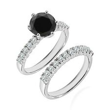1 Ct Black Diamond Fancy Wedding Anniversary Solitaire Ring Bnad 14K White Gold
