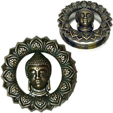 Pair Bronzed Buddha Stainless Steel Ear Flesh Tunnels Screw Fit Gauges Plugs