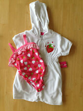 NWT Strawberry Pink Swimsuit Coverall 2 PC Set 2T Penny M. Toddler Girls