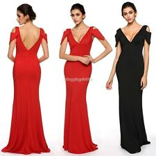 Sexy Maxi Dress Women V-neck backless Full Length Gown Cocktail Party Dress