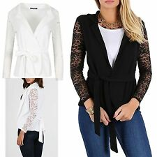 Womens Floral Lace Long Sleeve Ladies Open Front Collared Layer Cardigan Blazer