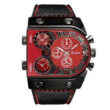 Quartz Watch Military Sports Men Three Time Personality Dial Leather Strap Watch