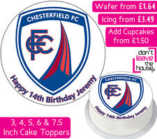 CHESTERFIELD FOOTBALL TEAM EDIBLE WAFER & ICING PERSONALISED CAKE TOPPER CLUB FC