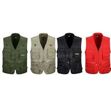 Mens Outdoor Multi-Pocket Casual Vest Travel Fly Fishing Photo Quick-Dry Jacket