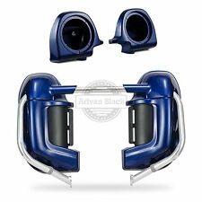 "Superior Blue Lower Vented Fairing +6.5""Speaker Pods Fit Harley Touring 83-16"