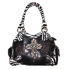 Western Rhinestone Shiny Zebra Cross Flower Embroidery Handbag Purse in 4 Colors