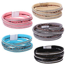 Women's Faux Leather Wristband Cuff Punk Magnetic Buckle Bracelet Bangle Gift