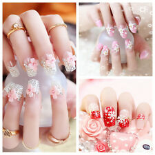 24pcs Fashion 3D Bride Wedding False Artificial Fake Nails Tips French EF