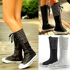 Rare Women PUNK Gothic Rivets Canvas Boots Sneakers Knee High Lace Up Zip Shoes