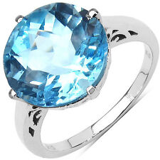 7.6ct 12mm Round Cut Genuine Blue Topaz Solitaire Ring 925 Sterling Silver Sz 8