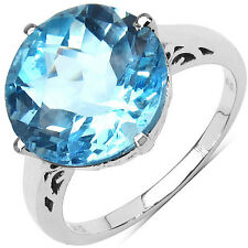 12mm Round Cut Real Genuine Blue Topaz Solitaire Ring 925 Sterling Silver Size 8
